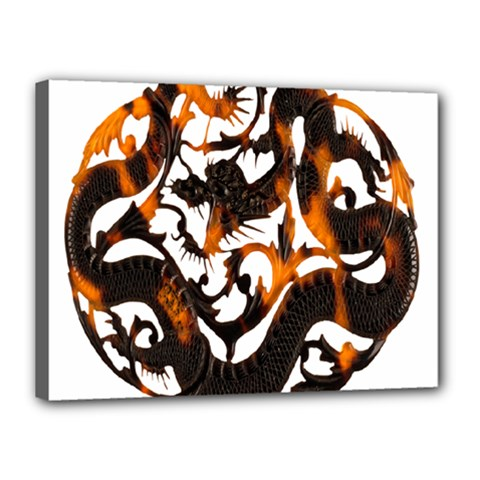 Ornament Dragons Chinese Art Canvas 16  x 12