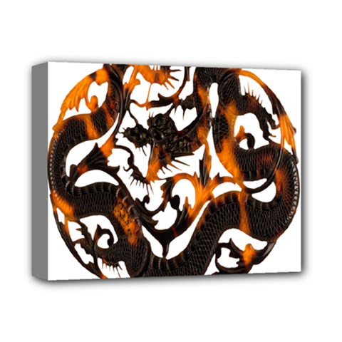 Ornament Dragons Chinese Art Deluxe Canvas 14  x 11