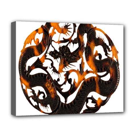 Ornament Dragons Chinese Art Deluxe Canvas 20  x 16
