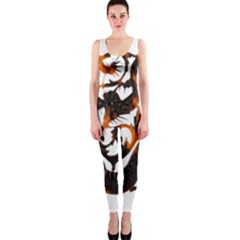 Ornament Dragons Chinese Art OnePiece Catsuit