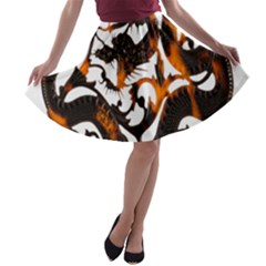 Ornament Dragons Chinese Art A-line Skater Skirt