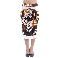 Ornament Dragons Chinese Art Midi Pencil Skirt