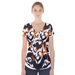 Ornament Dragons Chinese Art Short Sleeve Front Detail Top