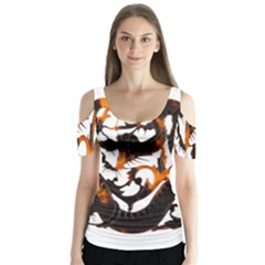 Ornament Dragons Chinese Art Butterfly Sleeve Cutout Tee