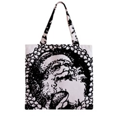 Santa Claus Christmas Holly Zipper Grocery Tote Bag