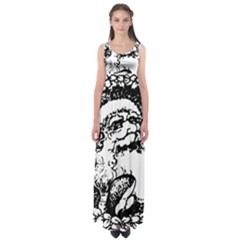 Santa Claus Christmas Holly Empire Waist Maxi Dress
