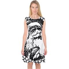 Santa Claus Christmas Holly Capsleeve Midi Dress