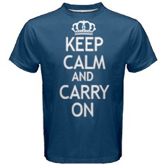 Blue Keep Calm And Carry On Tee