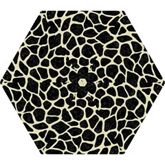 Skin1 Black Marble & Beige Linen (r) Mini Folding Umbrella
