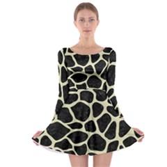 SKN1 BK-MRBL BG-LIN (R) Long Sleeve Skater Dress