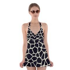 SKN1 BK-MRBL BG-LIN (R) Halter Swimsuit Dress