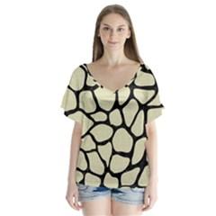 Skin1 Black Marble & Beige Linen V Neck Flutter Sleeve Top