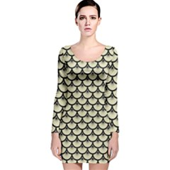 SCA3 BK-MRBL BG-LIN (R) Long Sleeve Velvet Bodycon Dress