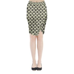 SCA3 BK-MRBL BG-LIN (R) Midi Wrap Pencil Skirt