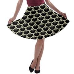 SCA3 BK-MRBL BG-LIN A-line Skater Skirt