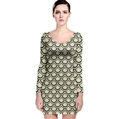 SCA2 BK-MRBL BG-LIN (R) Long Sleeve Velvet Bodycon Dress