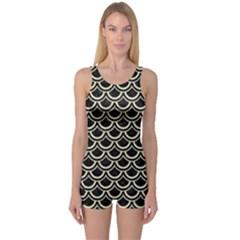 Scales2 Black Marble & Beige Linen One Piece Boyleg Swimsuit