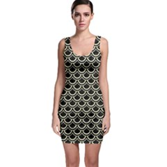 SCA2 BK-MRBL BG-LIN Sleeveless Bodycon Dress