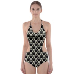 SCA2 BK-MRBL BG-LIN Cut-Out One Piece Swimsuit