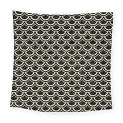 Scales2 Black Marble & Beige Linen Square Tapestry (large)