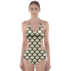 SCA1 BK-MRBL BG-LIN (R) Cut-Out One Piece Swimsuit