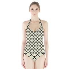 SCA1 BK-MRBL BG-LIN (R) Halter Swimsuit
