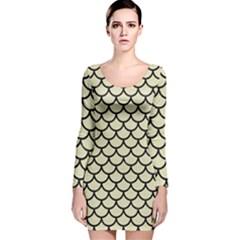 SCA1 BK-MRBL BG-LIN (R) Long Sleeve Velvet Bodycon Dress
