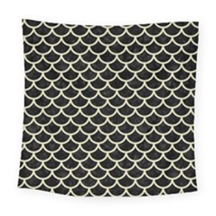 Scales1 Black Marble & Beige Linen Square Tapestry (large)