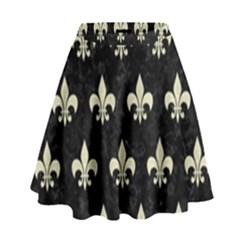 RYL1 BK-MRBL BG-LIN (R) High Waist Skirt