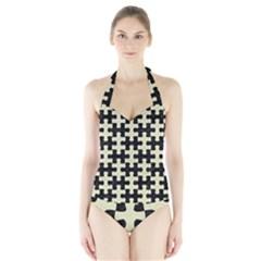 PUZ1 BK-MRBL BG-LIN Halter Swimsuit