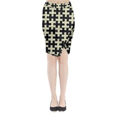 PUZ1 BK-MRBL BG-LIN Midi Wrap Pencil Skirt