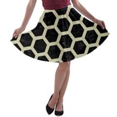 HXG2 BK-MRBL BG-LIN A-line Skater Skirt