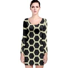 HXG2 BK-MRBL BG-LIN Long Sleeve Velvet Bodycon Dress