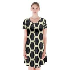 HXG2 BK-MRBL BG-LIN Short Sleeve V-neck Flare Dress