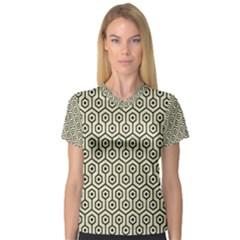Hexagon1 Black Marble & Beige Linen (r) V Neck Sport Mesh Tee