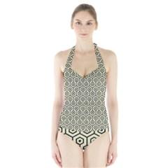 HXG1 BK-MRBL BG-LIN (R) Halter Swimsuit