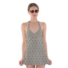 HXG1 BK-MRBL BG-LIN (R) Halter Swimsuit Dress