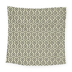 Hexagon1 Black Marble & Beige Linen (r) Square Tapestry (large)