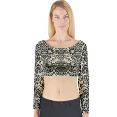 DMS2 BK-MRBL BG-LIN (R) Long Sleeve Crop Top