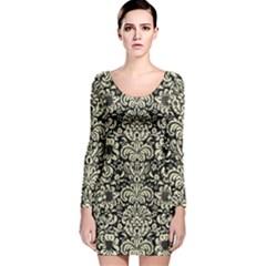DMS2 BK-MRBL BG-LIN Long Sleeve Velvet Bodycon Dress