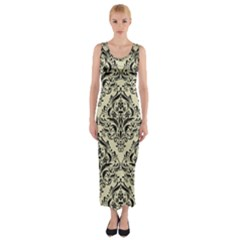 DMS1 BK-MRBL BG-LIN (R) Fitted Maxi Dress