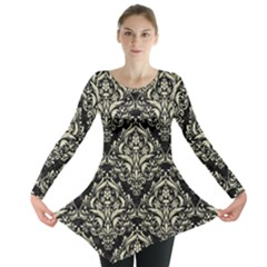 DMS1 BK-MRBL BG-LIN Long Sleeve Tunic