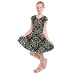 DMS1 BK-MRBL BG-LIN Kids  Short Sleeve Dress