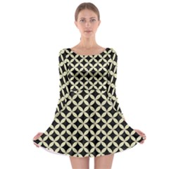 CIR3 BK-MRBL BG-LIN Long Sleeve Skater Dress