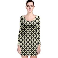 CIR3 BK-MRBL BG-LIN Long Sleeve Velvet Bodycon Dress