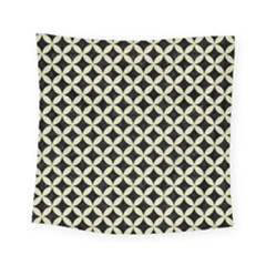 Circles3 Black Marble & Beige Linen Square Tapestry (small)