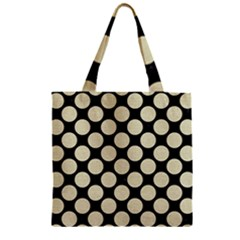 Circles2 Black Marble & Beige Linen Zipper Grocery Tote Bag