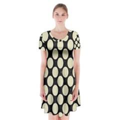 CIR2 BK-MRBL BG-LIN Short Sleeve V-neck Flare Dress