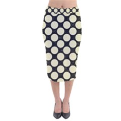 CIR2 BK-MRBL BG-LIN Velvet Midi Pencil Skirt