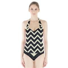 CHV9 BK-MRBL BG-LIN Halter Swimsuit